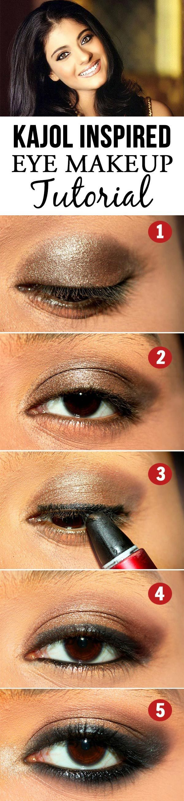 Then this Kajol eye makeup tutorial is for you to try and get