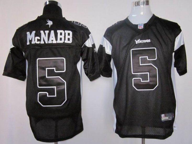 official photos ba53b 06ce9 Vikings #5 Donovan McNabb Black Shadow Stitched NFL Jersey ...