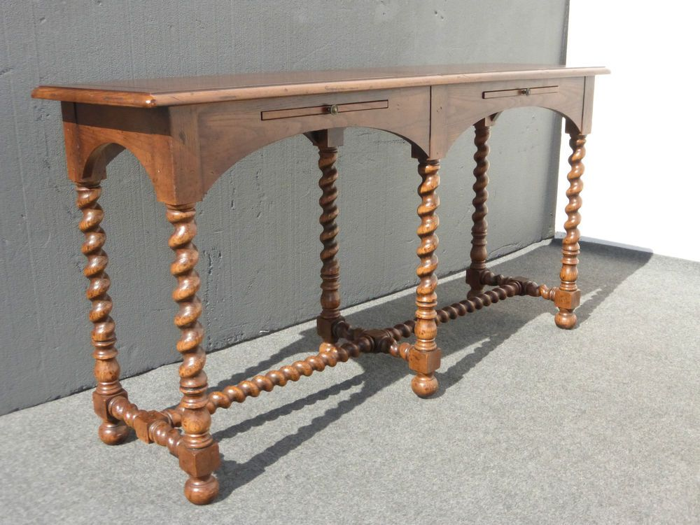 Vintage Henredon Barley Twist Entry Table Sofa Spanish