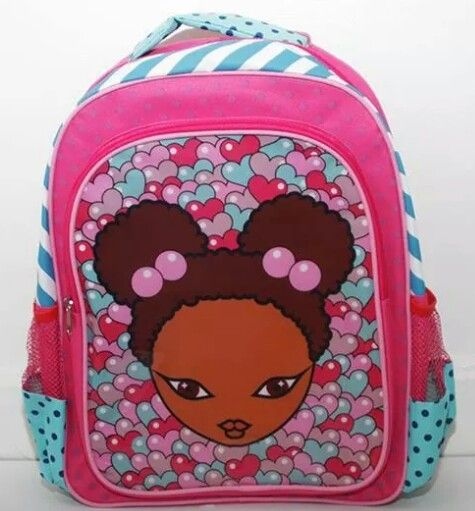Little Girls Natural Afro Hair Puffs Ponytail Pink Bubble Hearts Book Bag Backpack So