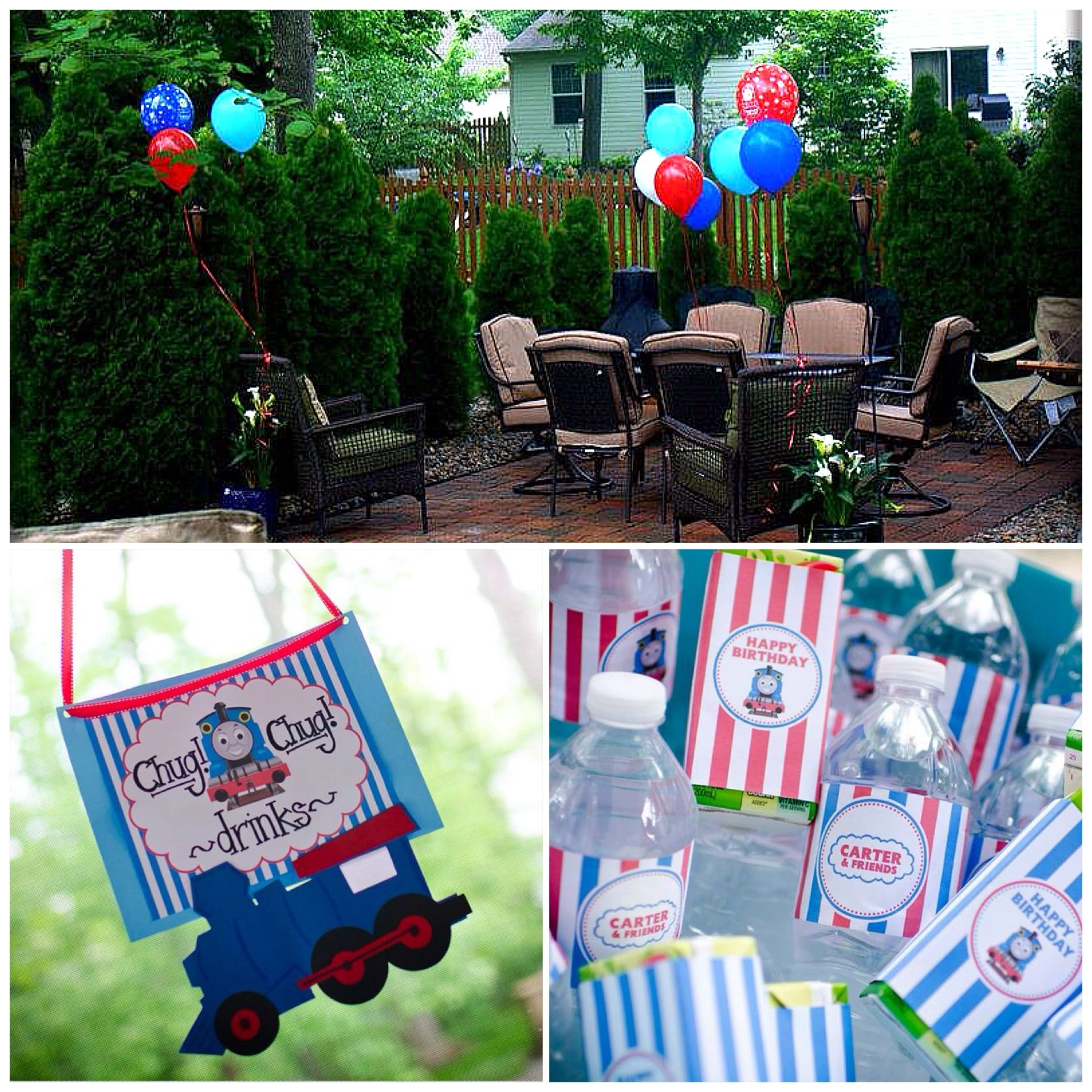 thomas the train birthday party balloons in backyard drinks and