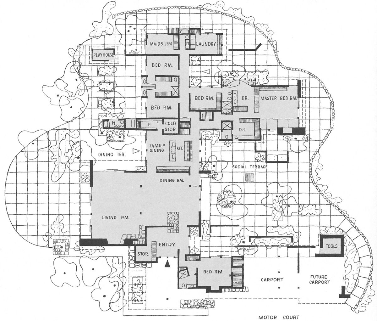 Cliff May, Floor plan for Mandalay, Brentwood, CA | Floorplans ...