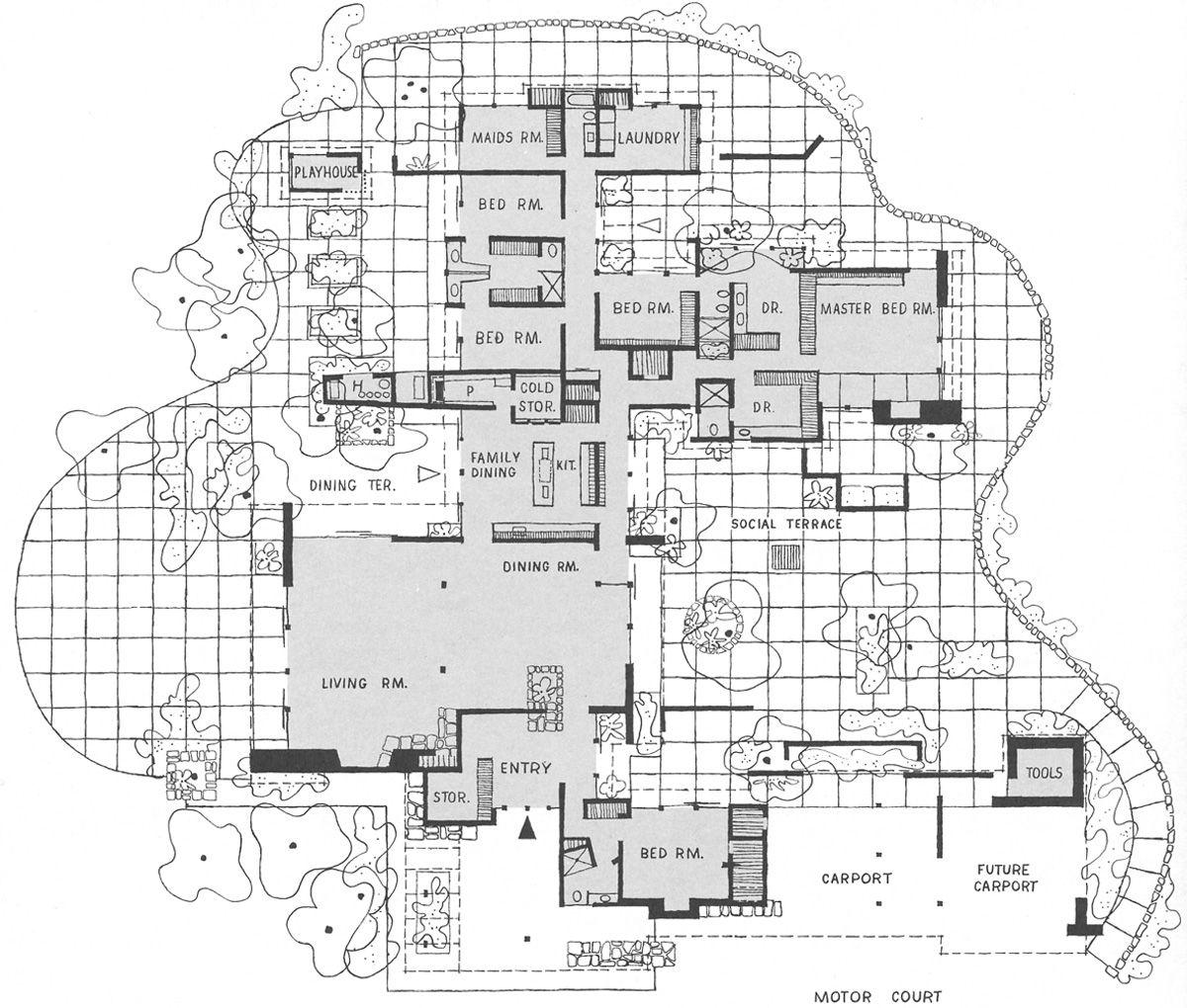 Cliff May Floor Plan For Mandalay Bwood Ca