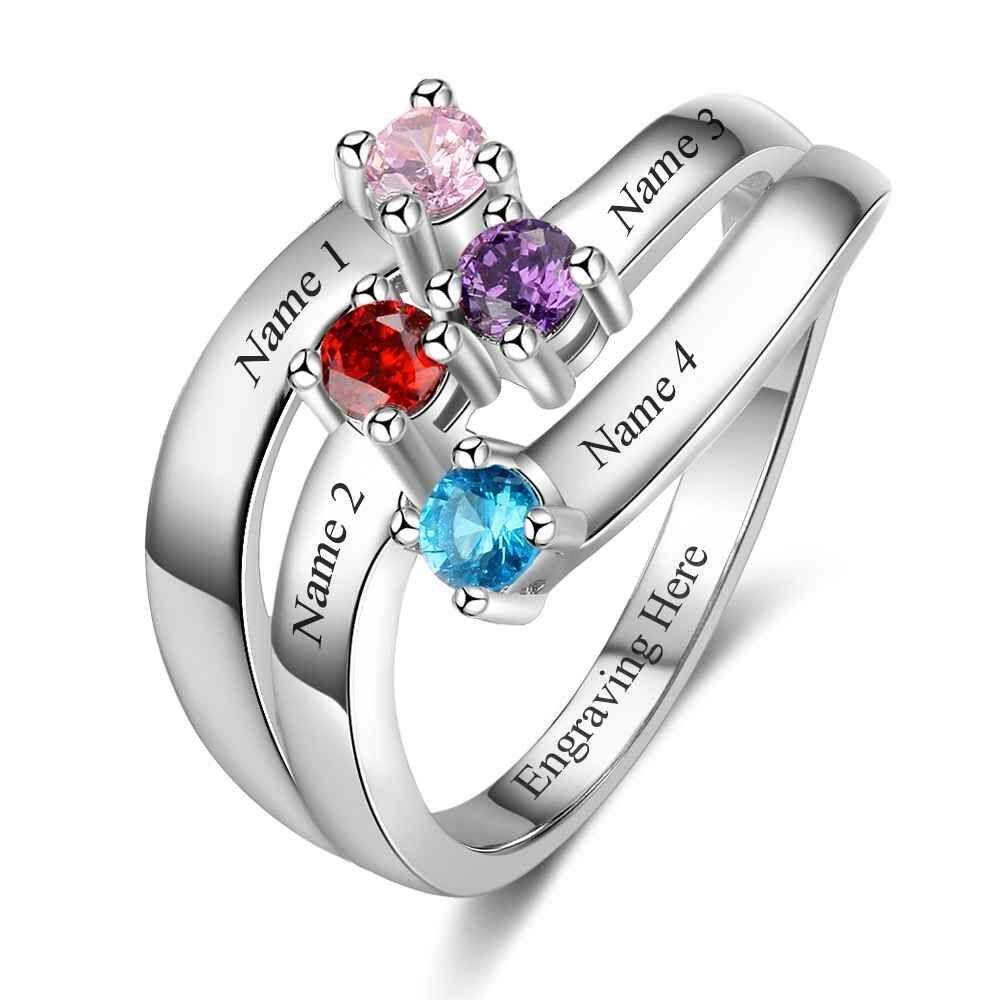 7a027531c1c18 4 Stone Personalized Mothers Birthstone And Engraved Sterling Silver ...