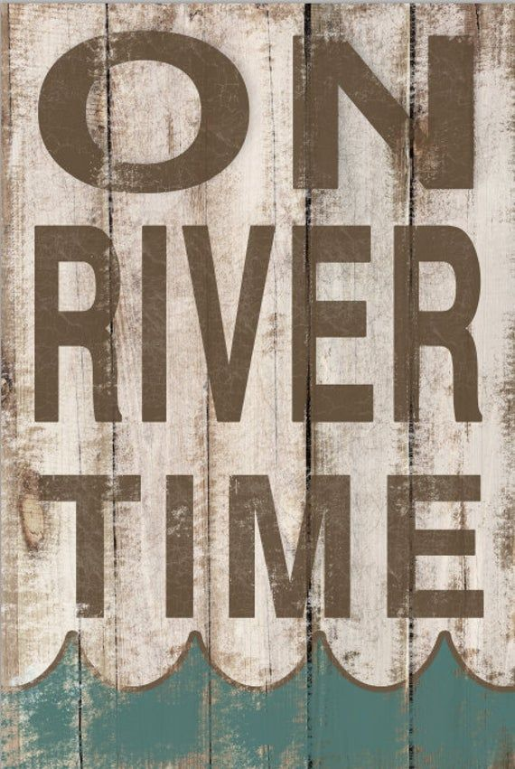 On River Time wooden sign.  Art is applied to wood then sealed with a water based polyurethane Recommended for indoors.  Sides and back are painted black with a metal hanger on back.  12.25