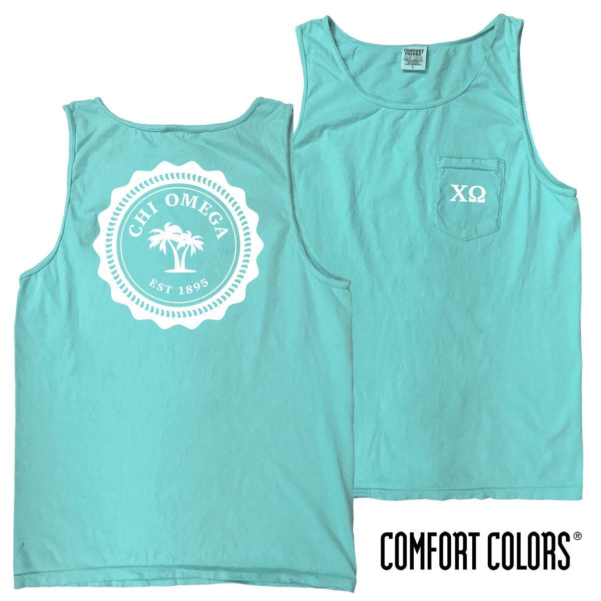 Chi O Lagoon Blue Comfort Colors Pocket Tank