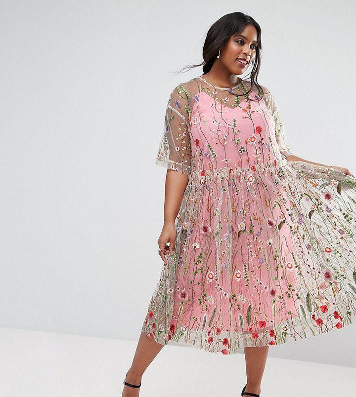 SALON Embroidered Smock Longer Length Midi Dress