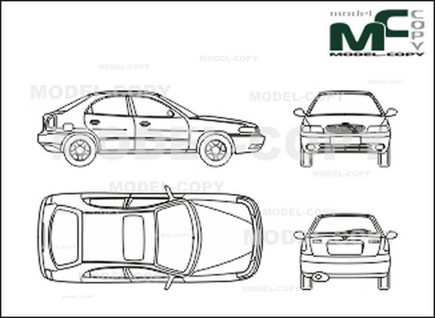 Daewoo Nubira In 5 Door Execution 2d Drawing Blueprints Model Copy Ford Focus Blueprints Chevrolet Spark