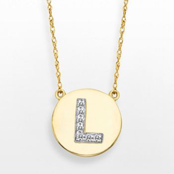 10k Gold 1 10 Carat T W Diamond Initial Necklace Diamond Initial Necklace 10k Gold Gold