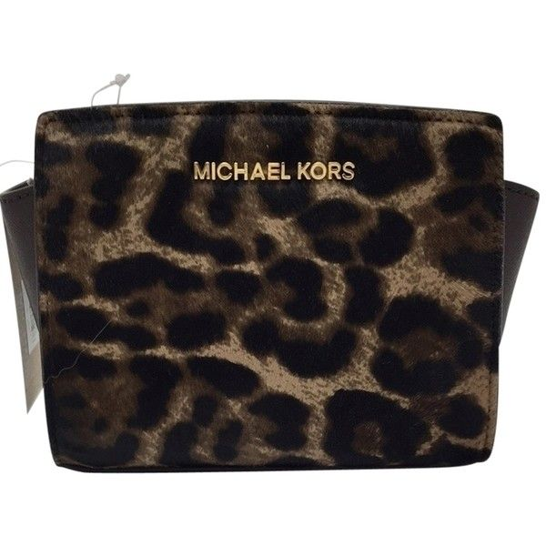 Pre-owned Leopard Haircalf Michael Kors Michael Messenger Bag ($133) ❤ liked on Polyvore