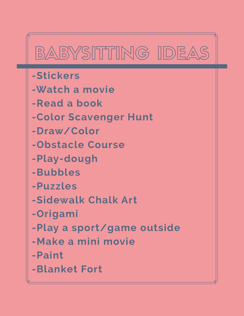 babysitting tips tricks babysitting checklist babysitting ideas activity ideas free. Black Bedroom Furniture Sets. Home Design Ideas