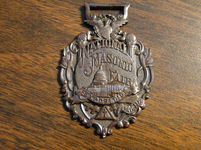 "Scarce National Masonic Fair Watch Fob Medal - National Masonic Fair Souvenir Fob Medal Eary Masonic Fair Fob Medal - 1 1/2"" X 2 1/4"" Nice! by EagleDen on Etsy"