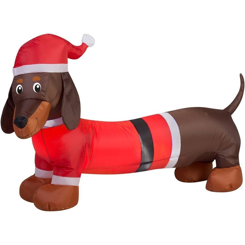 Christmas Inflatable Wiener Dog Holiday Air Blown Outdoor Christmas