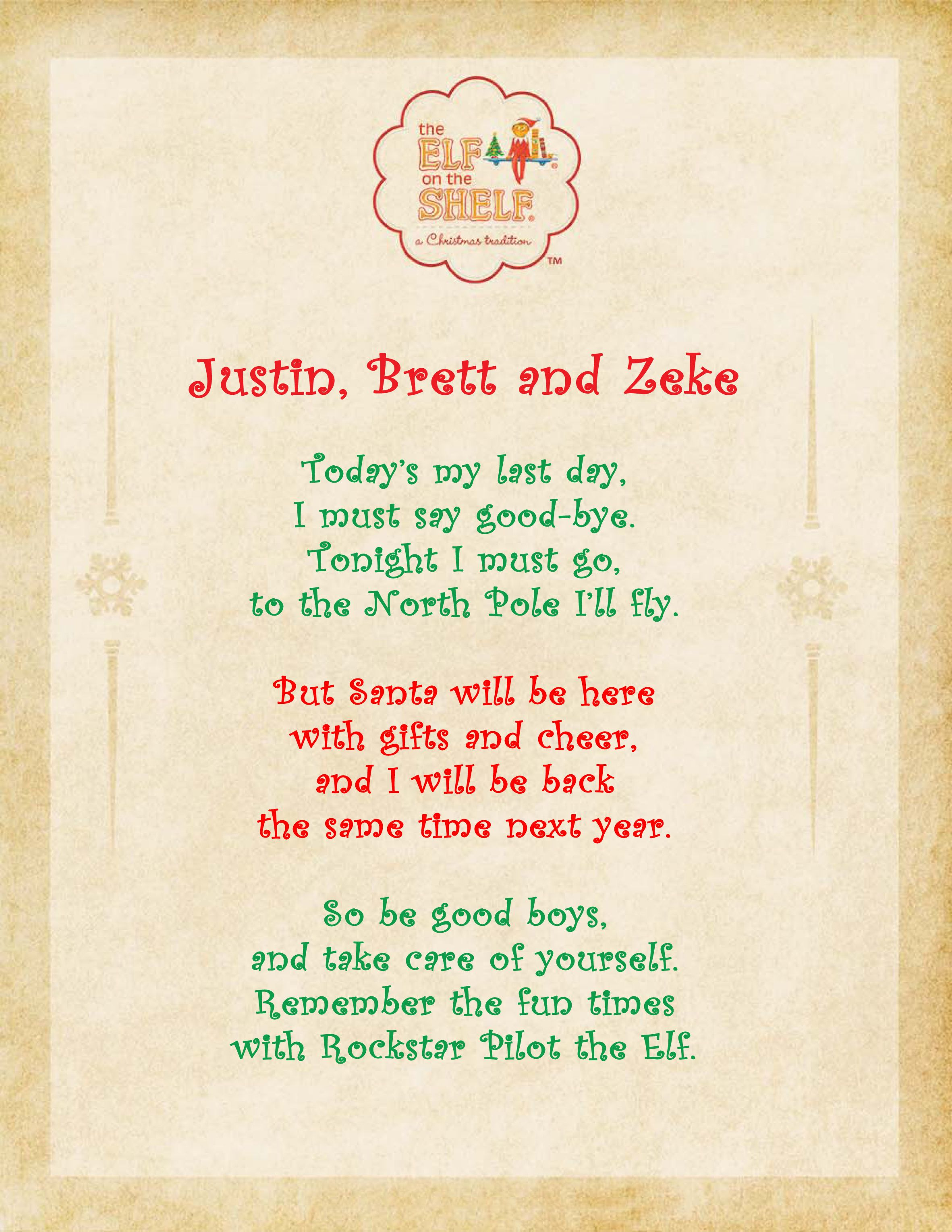 Elf On The Shelf Day 24 Goodbye Poem Winter Christmaschristmas