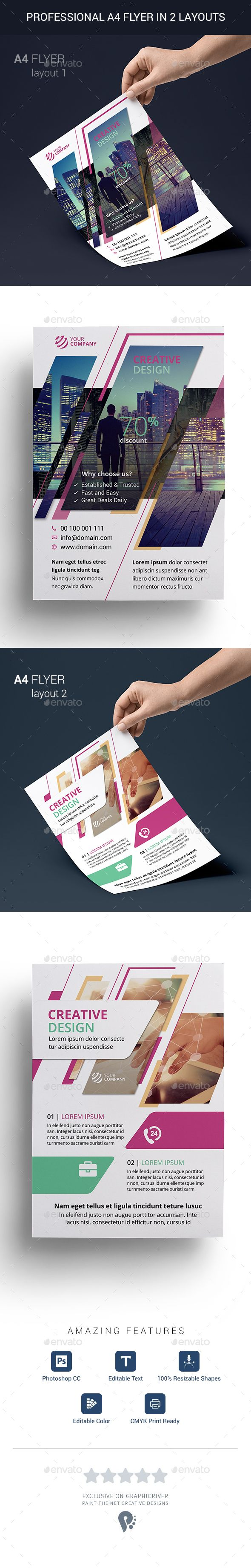 professional multi purpose a4 flyer in 2 layouts flyer template