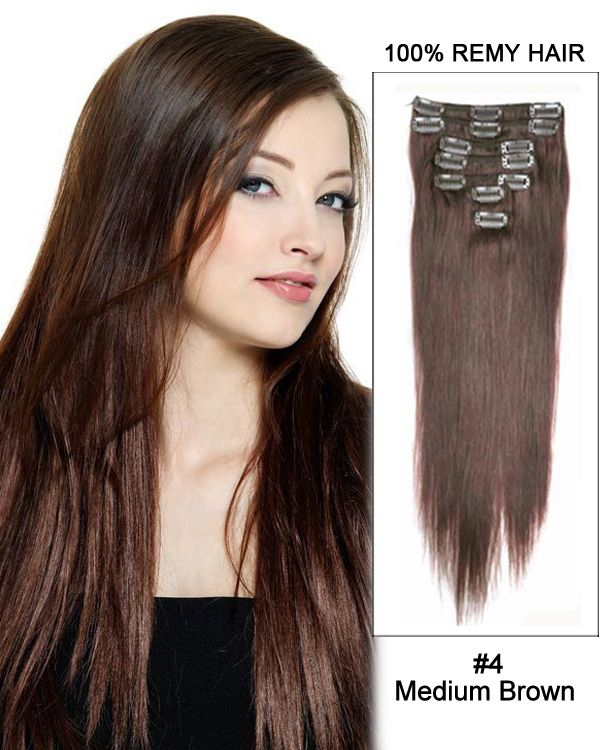 16 Inch 10pcs Straight Indian Clip In Remy Hair Extensions 4