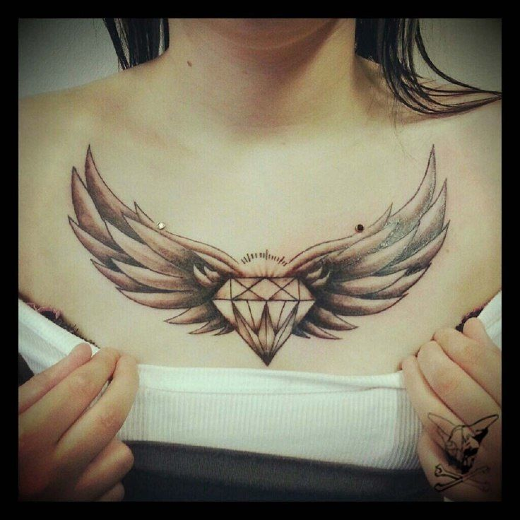 diamond with wings tattoo designs chest tattoos