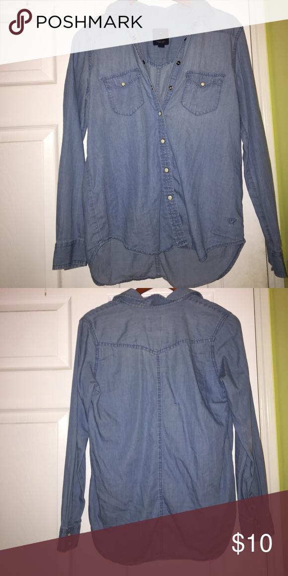 Denim Boyfriend Shirt American Eagle Denim Boyfriend Long Sleeve Button Down Shirt American Eagle Outfitters Tops Button Down Shirts