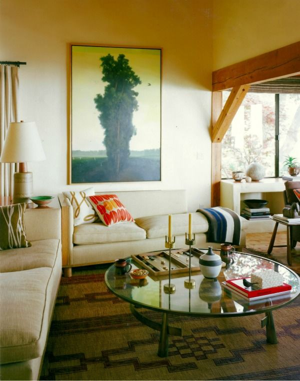 mid-century style living room shot by david tsay, styled by emily henderson