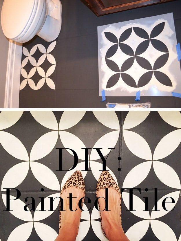 Photo of Imitate the look of trendy pressed-concrete patterned tiles without ripping out your floor — just paint, stencil, and seal.