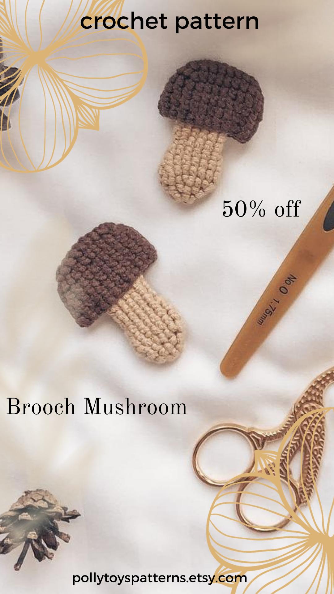Crochet PATTERN Brooch Mushroom Crochet brooch pattern Amigurumi brooch English pattern