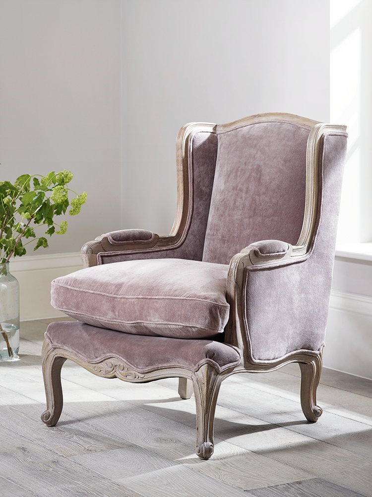 ... Our Elegant French Inspired Furniture Includes Intricate Hand Carved  Mango Wood Details With A Limewashed Finish. Our Loire Occasional Chair ...