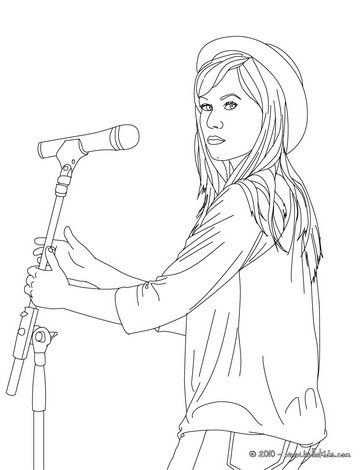 Demi Lovato With Hat Coloring Page More Singer Coloring Sheets On