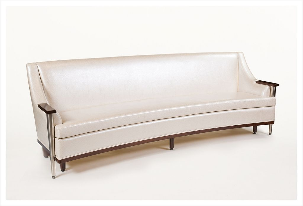 White Leather Curved Sofa with solid wood frame and stainless steel ...