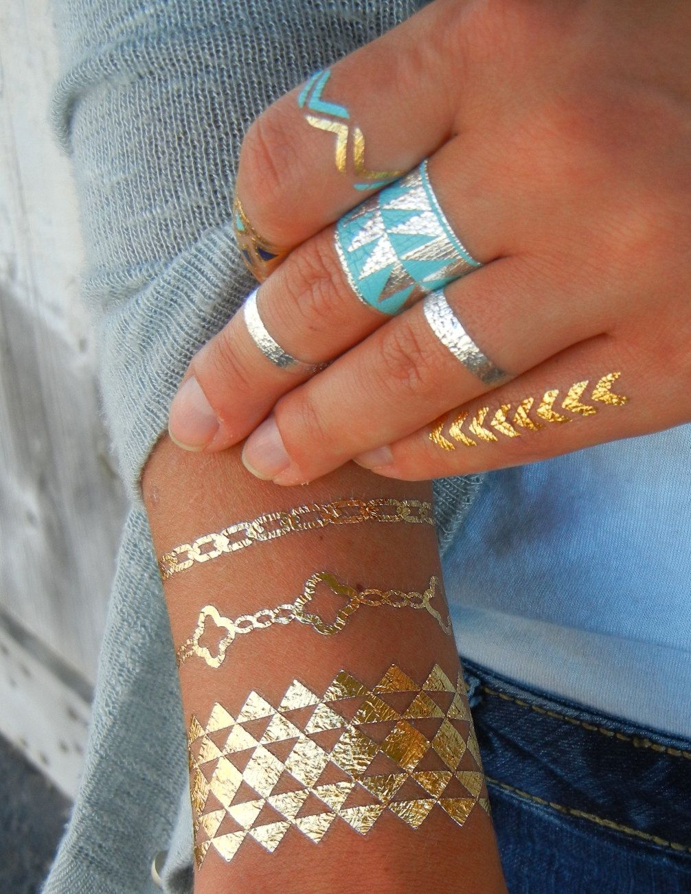 kinda cool Geometric Jewelry Gold Metallic Temporary Tattoos