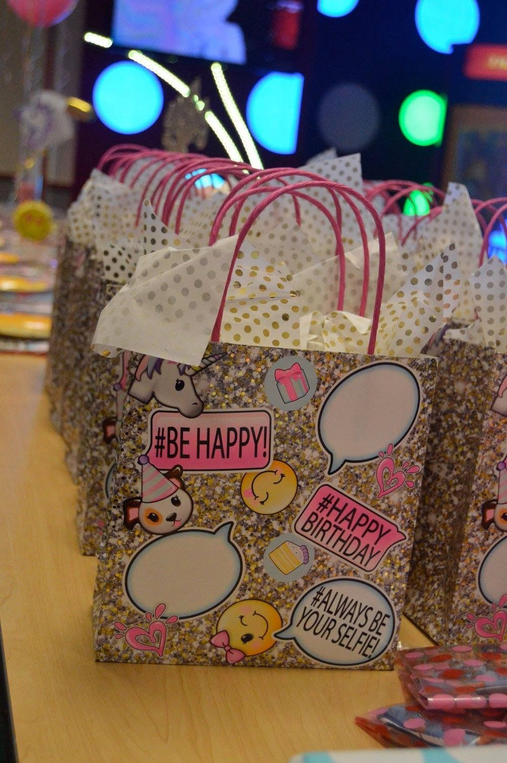 Justice Emoji Birthday Party Favor Bags