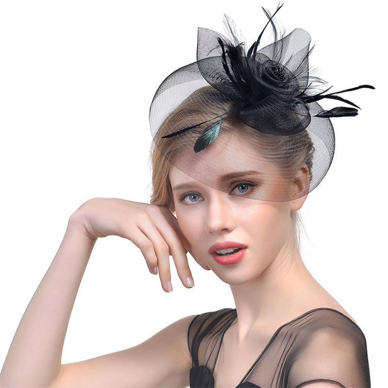 Ladiess Flower Fascinator Hair Clips Cocktail Party Dot Beaded Veil Headpiece