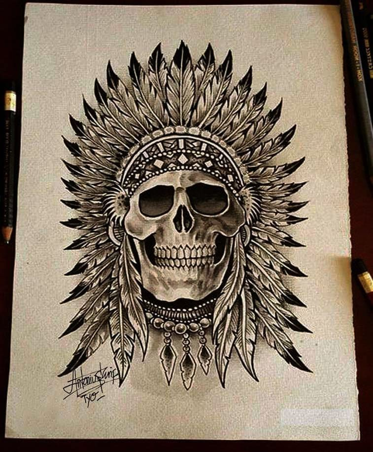 Pin by Pablo Barrera on Skull tattoos | Indian skull ...