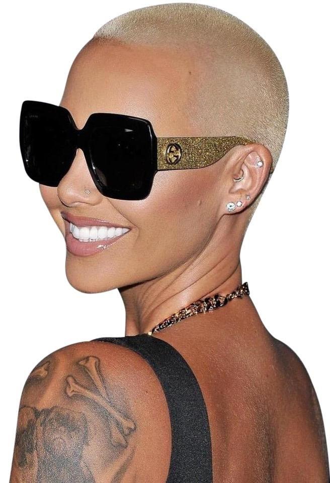 Gucci Black Gold Gg0102s 002 Glitter Square Sunglasses Gucci Sunglasses Women Amber Rose Sunglasses Gucci Sunglasses