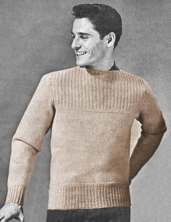 Men Boat Neck Pullover Sweater Vintage Knitting Pattern For Download