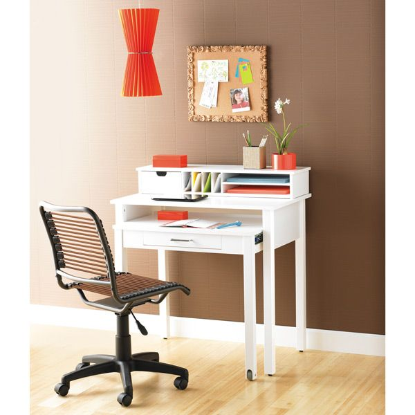 The Container Store White Roll Out Desk With My Bungee Chair