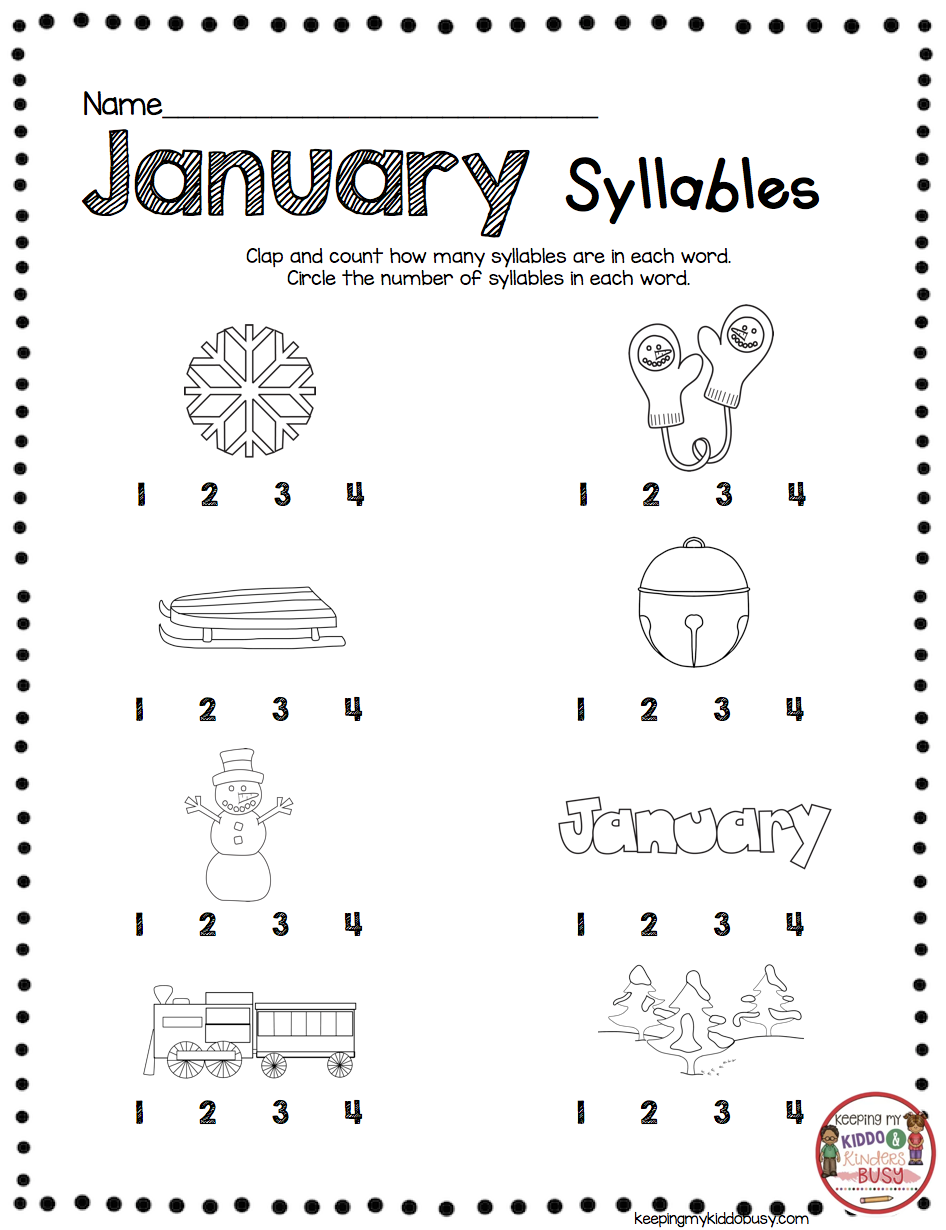 January No Prep Math Literacy Pack Freebies Keeping My Kiddo Busy Winter Math Worksheets Kindergarten Worksheets Teaching Syllables [ 1230 x 946 Pixel ]