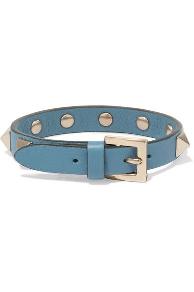 Valentino Garavani The Rockstud Leather And Gold-tone Bracelet - Light blue Valentino HNNTu