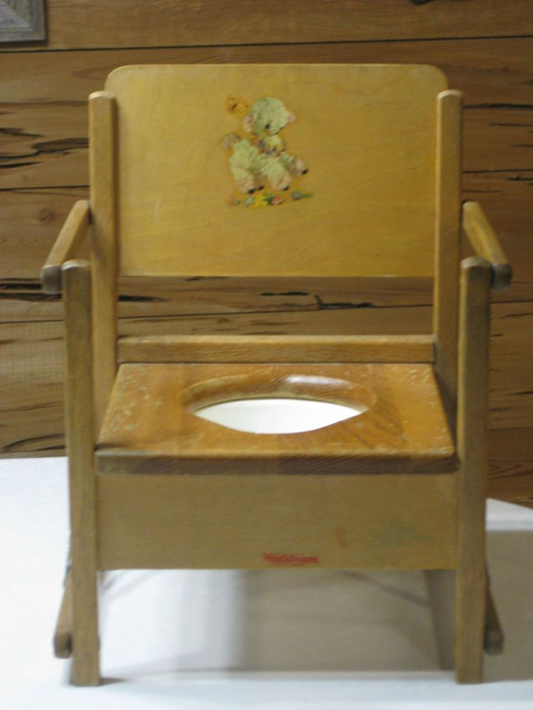 1950 S Vintage Wood Foldable Potty Chair With Bowl Made By