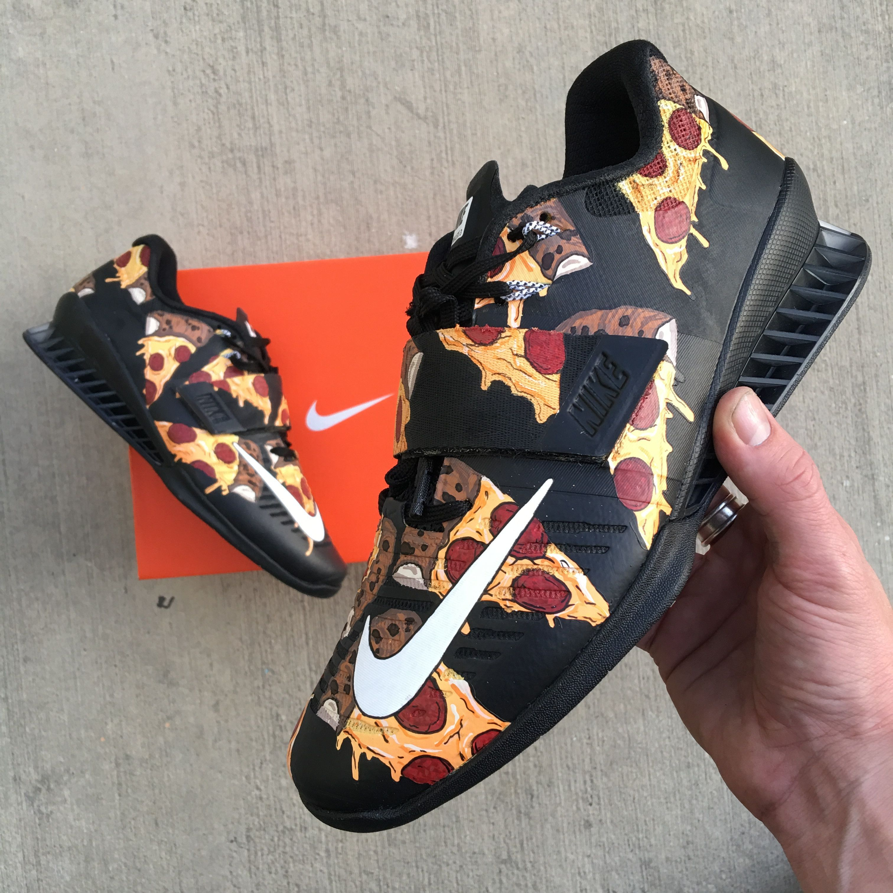 san francisco 42b4e a9e4b These Custom Nike Romaleos 3 Have been painted to have a pizza pattern all  over the shoes. Paint is 100% permanent and will not come off. Made in the  USA.