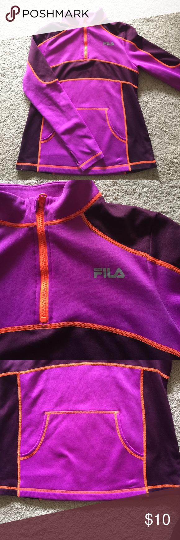 fila 1 4 zip. fila 1/4 zip athletic top purple, maroon and orange work out / 1 4