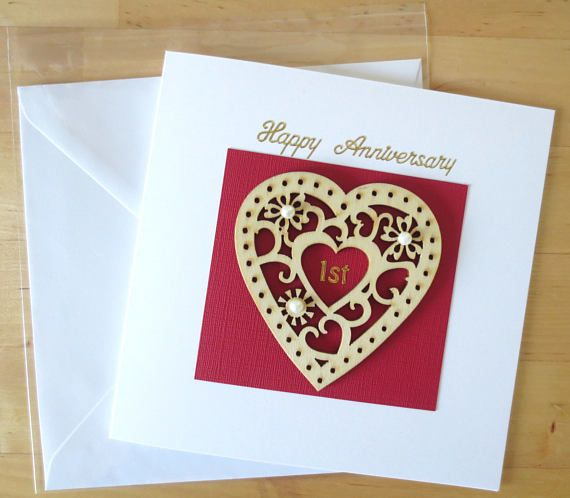 Wooden Heart 1st Anniversary Card Gift First Anniversary Card Gift