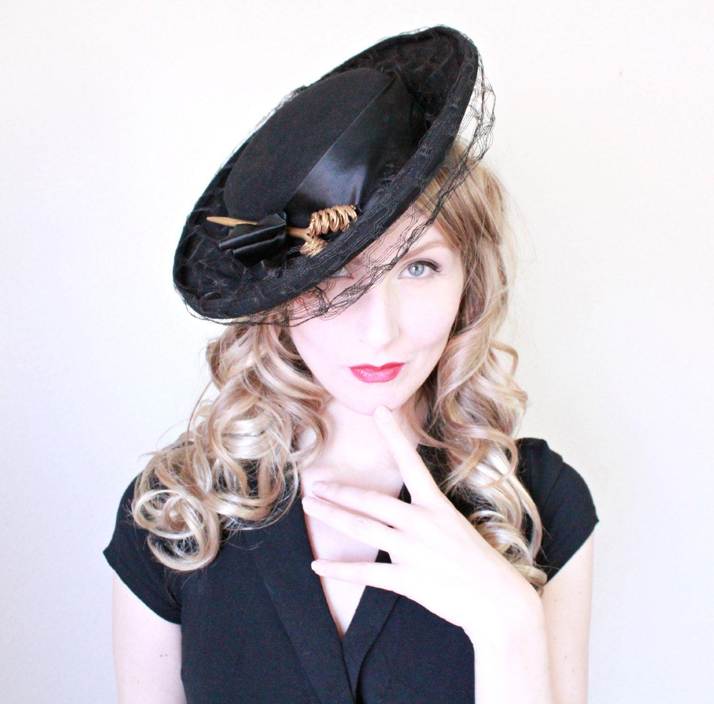 1940s Hat / VINTAGE / Wide Brim / 40s Hat / Tilt / Black