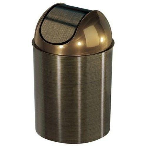 Trash Can Bronze Kitchen Office Waste Basket Desk Bathroom Bath Swinging Lid