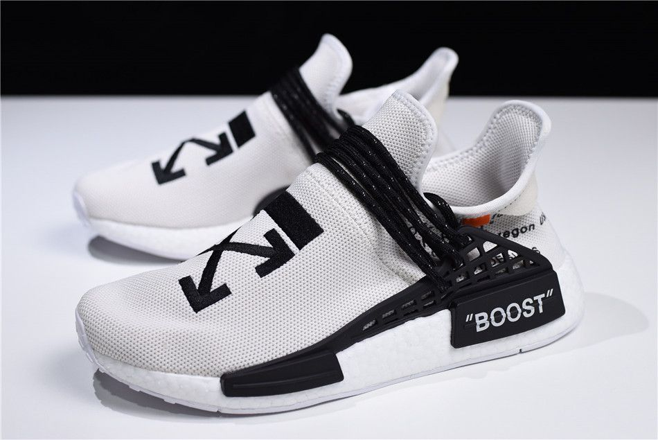 5bdd0a3d2 2018 OFF-WHITE x Pharrell x adidas NMD Hu Race Trail Light Grey Black-White  F99768