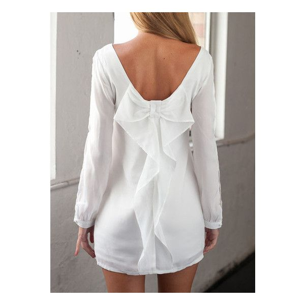 SheIn(sheinside) White Split Back Bow Dress (115 HRK) ❤ liked on Polyvore featuring dresses, white, bow-back dress, short bodycon dresses, bodycon dress, long sleeve body con dress and white chiffon dress
