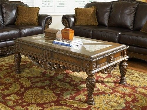 Ashley Furniture North S Marble Coffee Table Brown