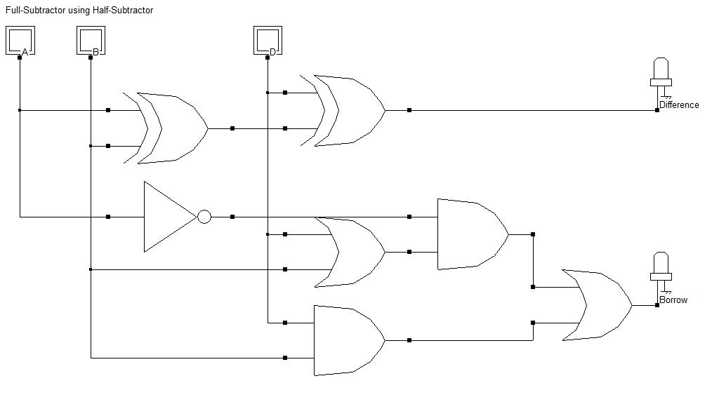 Full Subtractor Using Half Subtractor Electronics Circuit Circuit Digital