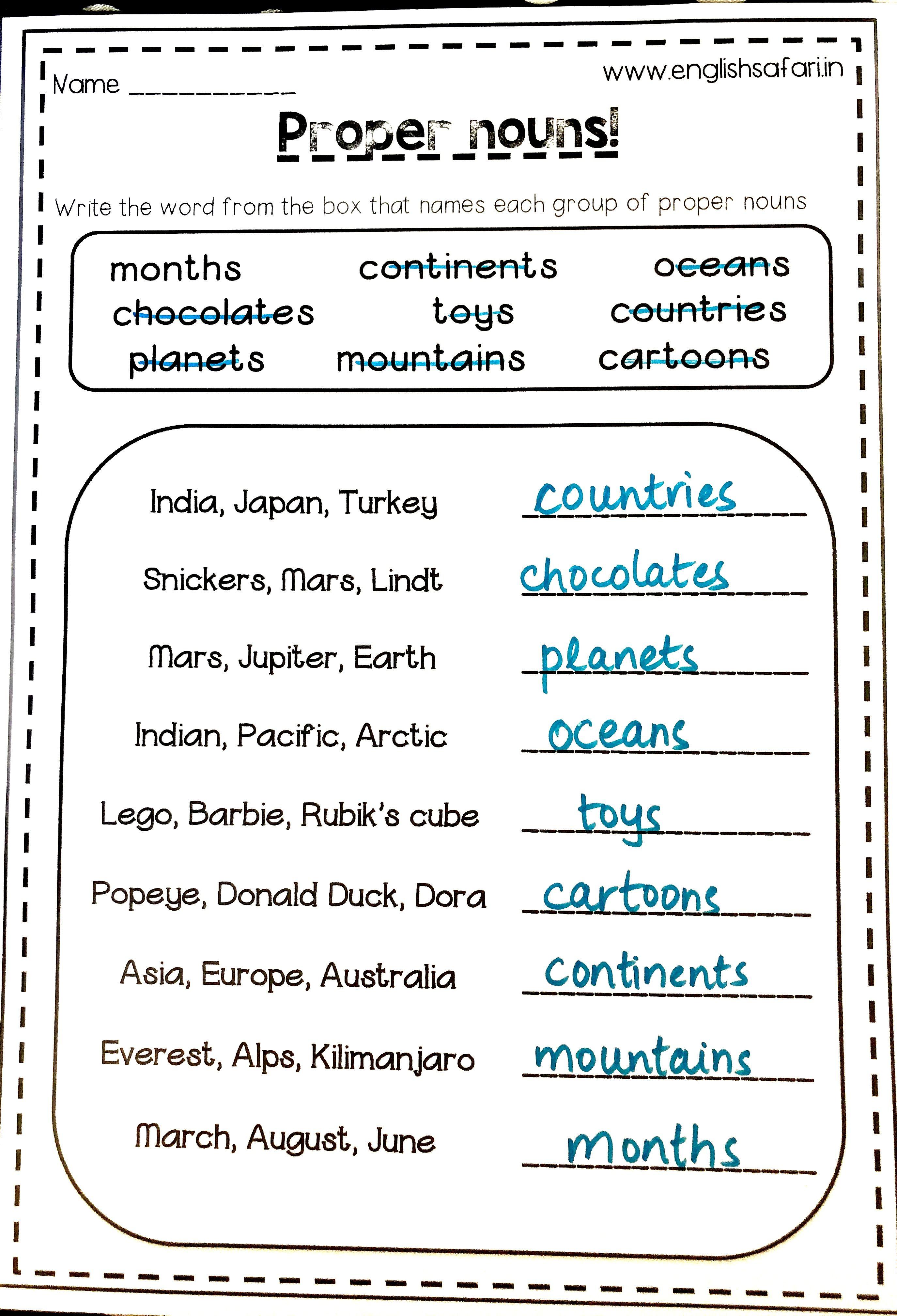 Proper Noun And Common Noun Worksheet