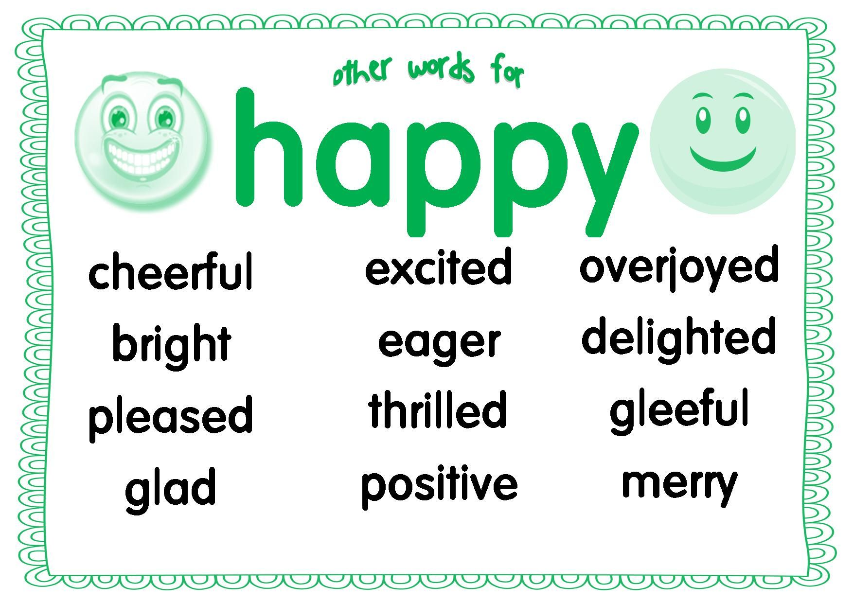 Synonyms Other Words For Happy Flashcards Vocabulary