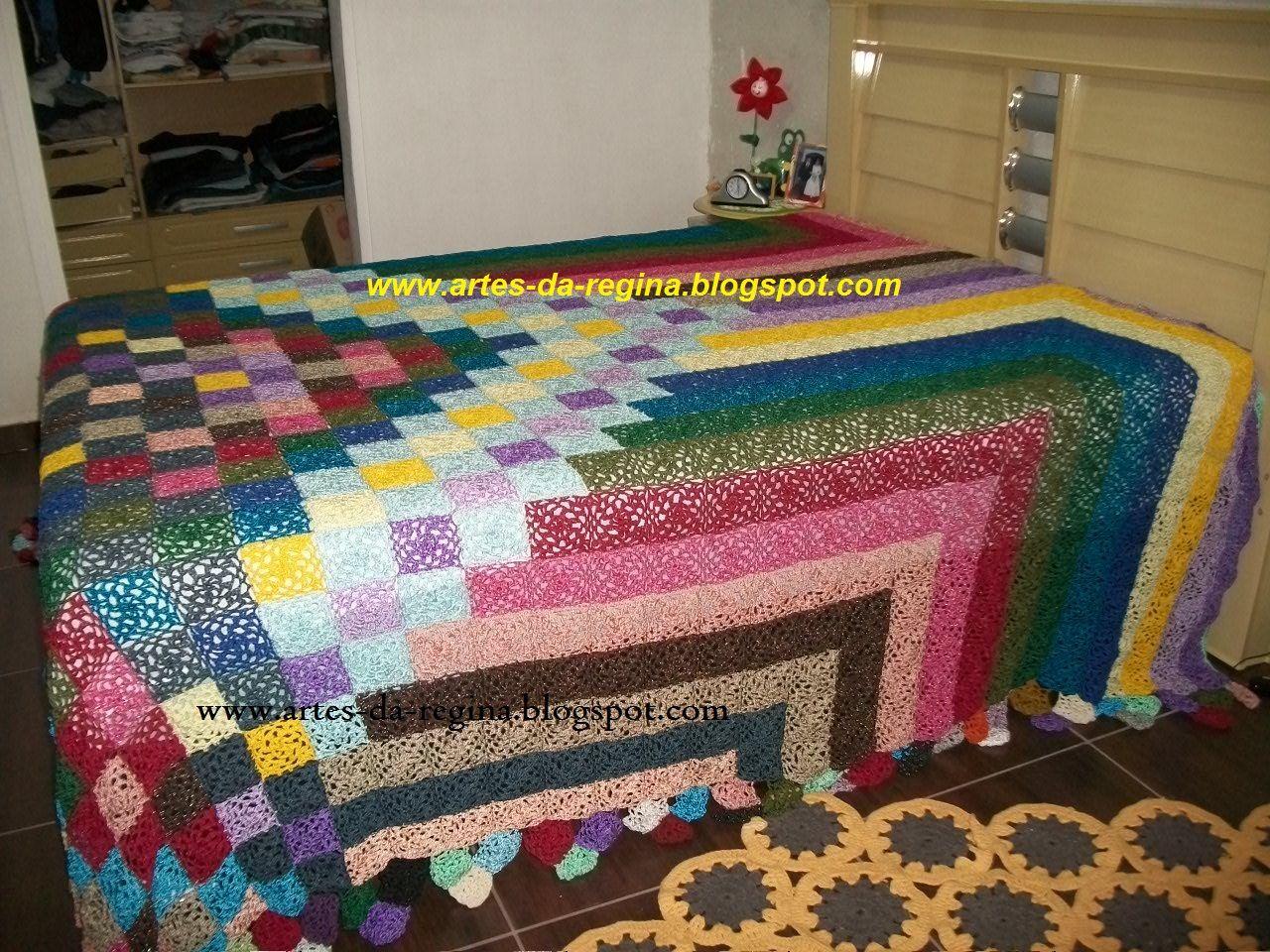 Pin mantas cubre camas una dos plazas tejidas crochet on - Colchas tejidas a crochet ...